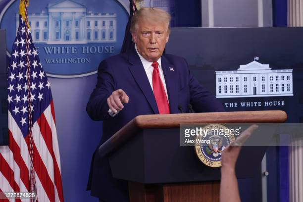 President Donald J. Trump speaks to the press during a news conference in the James Brady Press Briefing Room of the White House on September 16,...