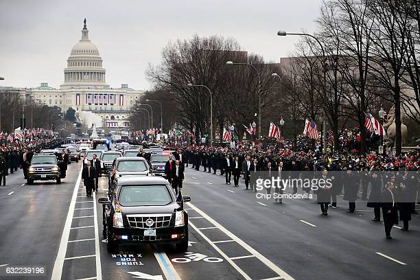 S President Donald J Trump's motorcade travels down Pennsylvania Avenue during the Inaugural Parade between the US Capitol and the White House...