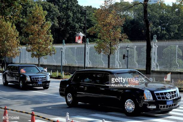S President Donald John Trump arrives at Akasaka State Guesthouse in Tokyo Japan on November 06 2017 as he attends a welcoming ceremony with Japan...