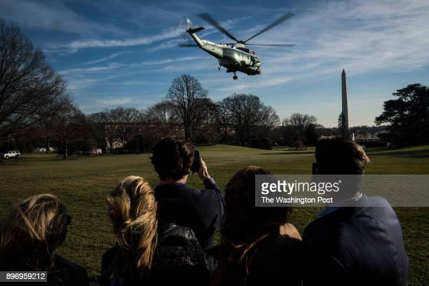 President Donald Trump aboard Marine One departs to head to Walter Reed National Military Medical Center in Bethesda Md at the White House in...