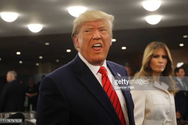 President Donald Trump, accompanied by first lady Melania Trump, speaks to the media at the United Nations General Assembly on September 24, 2019 in...