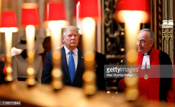 US President Donald Trump accompanied by John Hall Dean of Westminster visits Westminster Abbey where he laid a wreath at the grave of the Unknown...