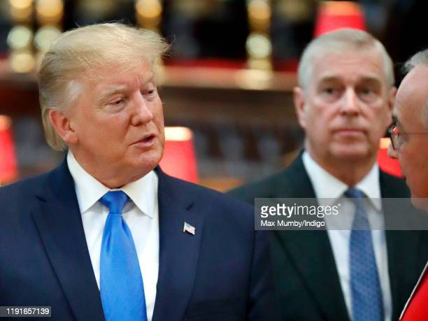 US President Donald Trump accompanied by Prince Andrew Duke of York visits Westminster Abbey where he laid a wreath at the grave of the Unknown...