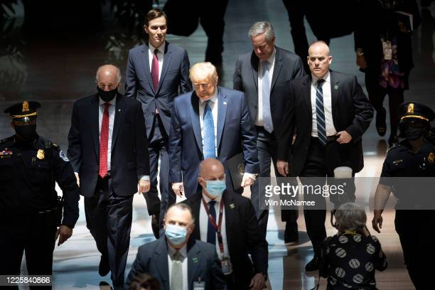 S President Donald Trump accompanied by son in law Jared Kushner and White House Chief of Staff Mark Meadows arrives on Capitol Hill May 19 2020 in...