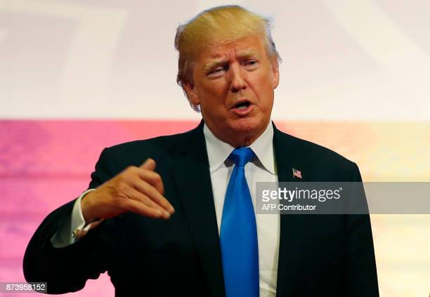 President Donald Trump accompanied by US State Secretary Rex Tillerson arrives to The US president was in the Philippines with leaders of 18 other...