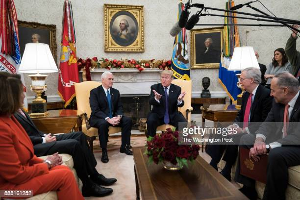 President Donald Trump accompanied by Vice President Mike Pence meets with congressional leaders including House Minority Leader Nancy Pelosi of...
