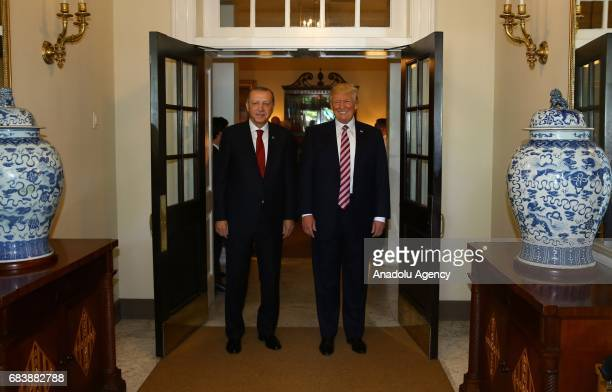 President Donald Trump accompanies President of Turkey Recep Tayyip Erdogan as he leaves the White House after their meeting at the Oval Office of...