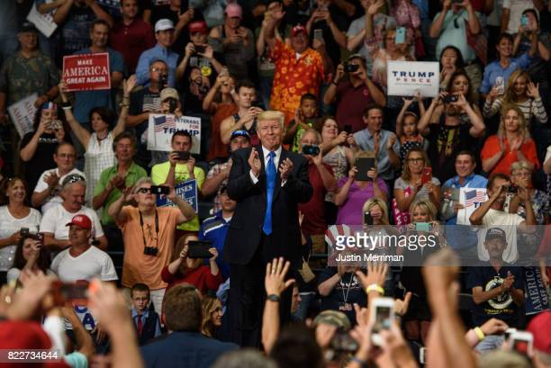 S President Donald Trump acknowledges the crowd after a rally at the Covelli Centre on July 25 2017 in Youngstown Ohio The rally coincides with the...