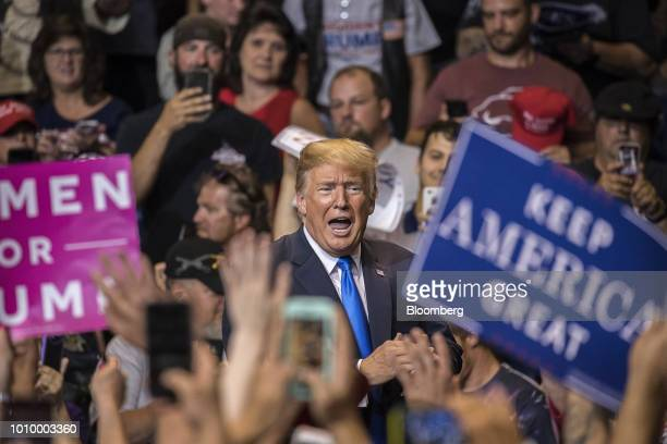 US President Donald Trump acknowledges the crowd after speaking at a rally in WilkesBarre Pennsylvania US on Thursday Aug 2 2018 Trump tweeted...