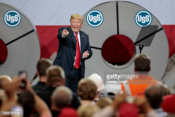 bea667710ca9 President Donald Trump acknowledges the crowd after speaking on July 26  2018 at US Steel s Granite