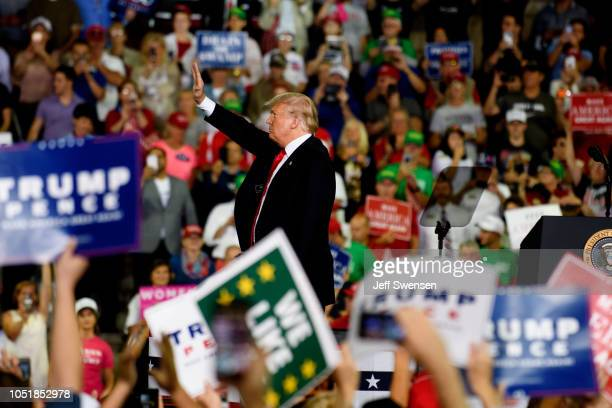 S President Donald Trump acknowledges the crowd at a rally at the Erie Insurance Arena on October 10 2018 in Erie Pennsylvania This was the second...