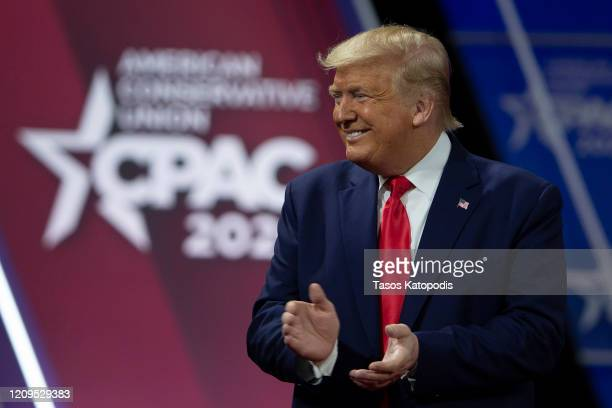 President Donald Trump acknowledges the crowd during the annual Conservative Political Action Conference at Gaylord National Resort & Convention...