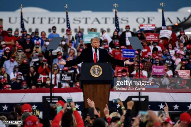 President Donald Trump addresses a crowd at the Fayetteville Regional Airport on September 19, 2020 in Fayetteville, North Carolina. Thousands of...
