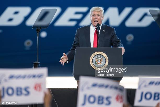 S President Donald Trump addresses a crowd during the debut event for the Dreamliner 78710 at Boeing's South Carolina facilities on February 17 2017...