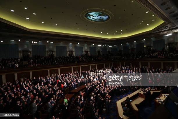 President Donald Trump addresses a joint session of the U.S. Congress on February 28, 2017 in the House chamber of the U.S. Capitol in Washington,...