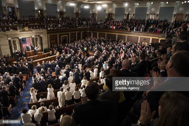 S President Donald Trump addresses a joint session of the US Congress on February 28 2017 in the House chamber of the US Capitol in Washington United...