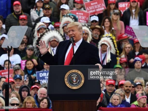 "President Donald Trump addresses a ""Make America Great Again"" rally at Bozeman Yellowstone International Airport, November 3, 2018 in Belgrade,..."