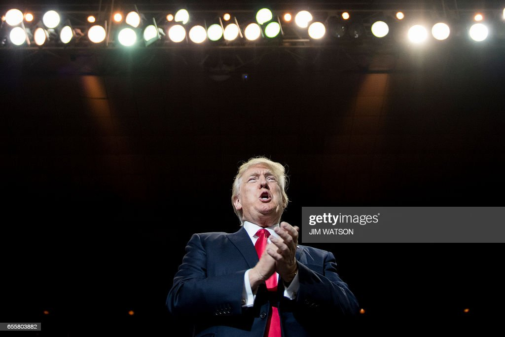 President Donald Trump addresses a 'Make America Great Again' rally at the Kentucky Exposition Center in Louisville, Kentucky, March 20, 2017. /