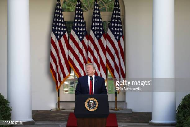 President Donald Trump addresses a National Day of Prayer event in the Rose Garden of the White House May 07, 2020 in Washington, DC. The White House...
