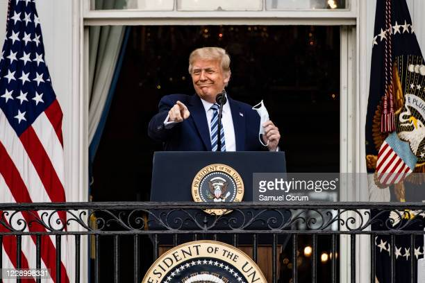 President Donald Trump addresses a rally in support of law and order on the South Lawn of the White House on October 10, 2020 in Washington, DC....