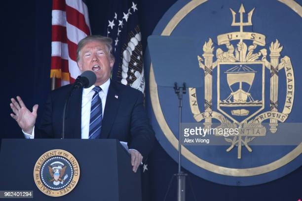 S President Donald Trump addresses a US Naval Academy graduation ceremony at the NavyMarine Corps Memorial Stadium May 25 2018 in Annapolis Maryland...