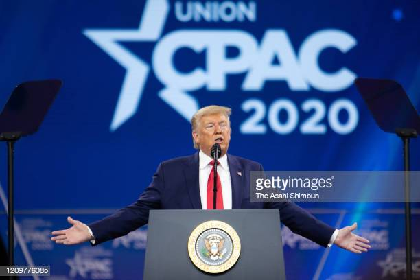 S President Donald Trump addresses during the annual Conservative Political Action Conference at Gaylord National Resort Convention Center on...