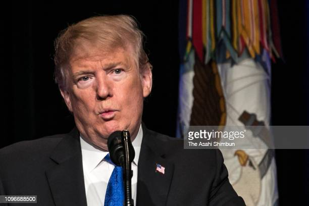 US President Donald Trump addresses during the Missile Defense Review announcement at the Pentagon on January 17 2019 in Arlington Virginia