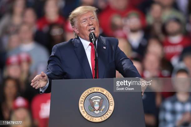 President Donald Trump addresses his impeachment after learning how the vote in the House was divided during a Merry Christmas Rally at the Kellogg...