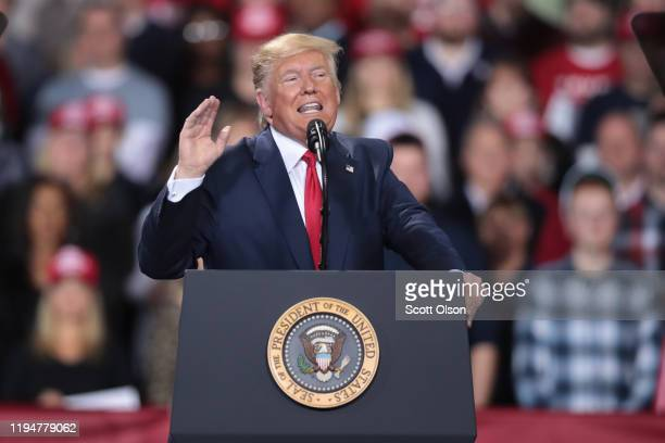 President Donald Trump addresses his impeachment during a Merry Christmas Rally at the Kellogg Arena on December 18 2019 in Battle Creek Michigan...