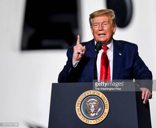 President Donald Trump addresses NASA and SpaceX employees after NASA commercial crew astronauts Doug Hurley and Bob Behnken blast off from historic...