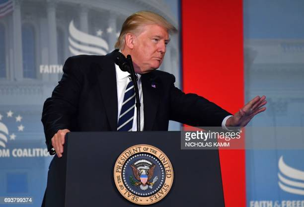 President Donald Trump addresses supporters at a Faith and Freedom Coalition event in Washington DC on June 08, 2017. - President Donald Trump...