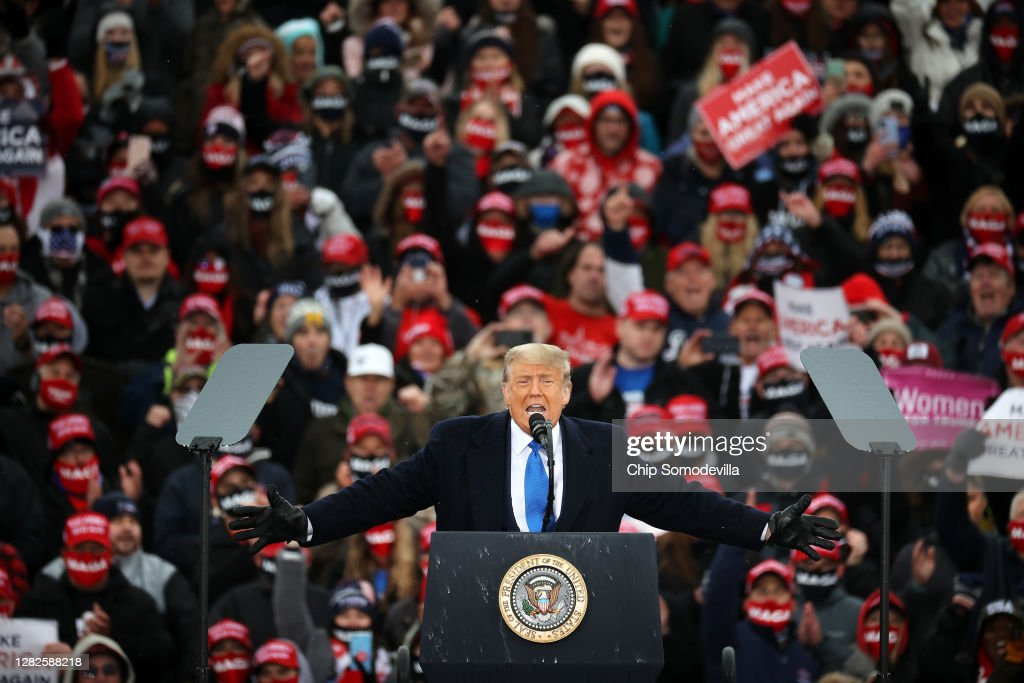 Donald Trump Campaigns For Re-Election In Michigan : News Photo