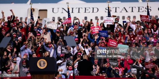 President Donald Trump addresses supporters during a Make America Great Again campaign rally on September 19, 2020 in Fayetteville, North Carolina....