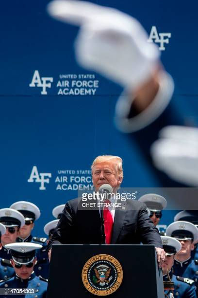 US President Donald Trump addresses the 2019 graduation ceremony at the United States Air Force Academy May 30 in Colorado Springs Colorado