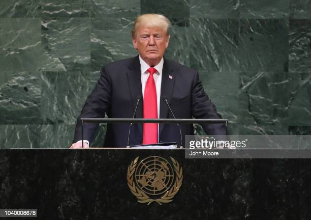 S President Donald Trump addresses the 73rd session of the United Nations General Assembly on September 25 2018 in New York City The United Nations...