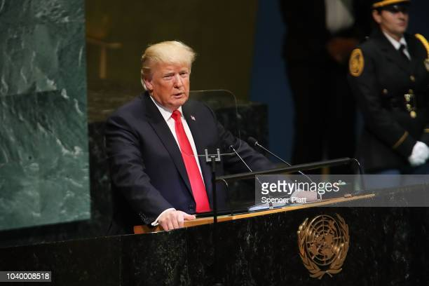 President Donald Trump addresses the 73rd United Nations General Assembly on September 25, 2018 in New York City. The United Nations General...