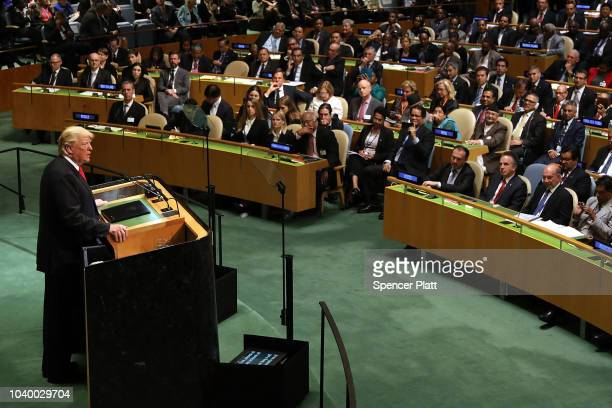 President Donald Trump addresses the 73rd United Nations General Assembly on September 25 2018 in New York City The United Nations General Assembly...