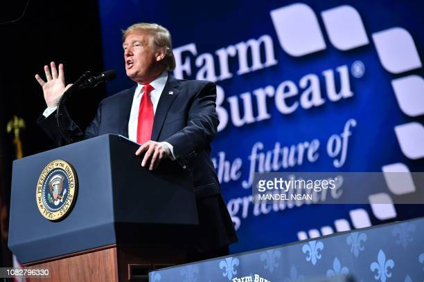 US President Donald Trump addresses the annual American Farm Bureau Federation convention in the Ernest N Morial Convention Center in New Orleans...