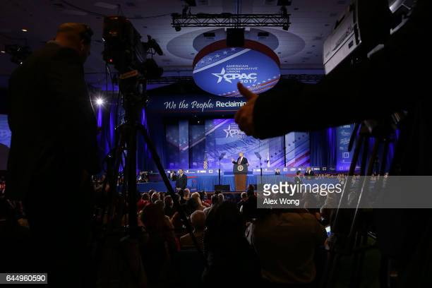 S President Donald Trump addresses the Conservative Political Action Conference at the Gaylord National Resort and Convention Center February 24 2017...