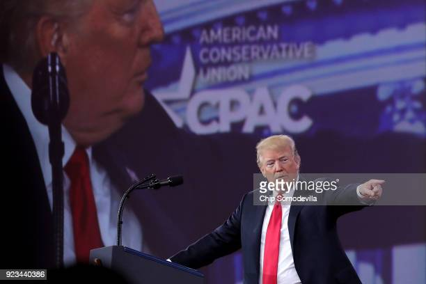 President Donald Trump addresses the Conservative Political Action Conference at the Gaylord National Resort and Convention Center February 23, 2018...