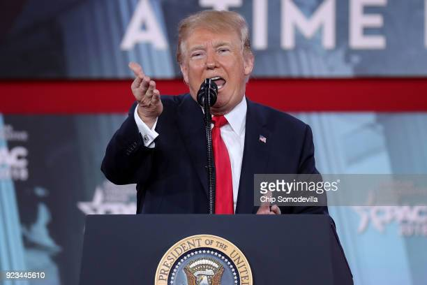 S President Donald Trump addresses the Conservative Political Action Conference at the Gaylord National Resort and Convention Center February 23 2018...