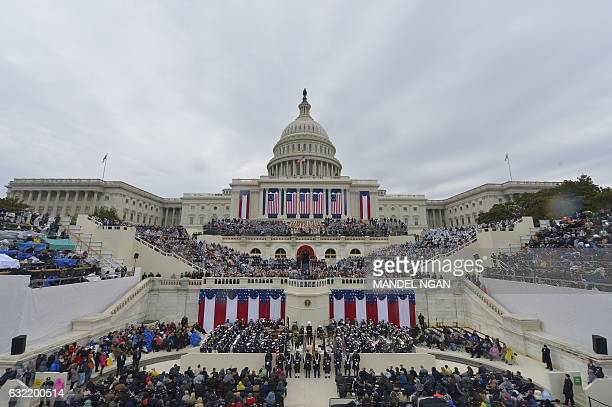 President Donald Trump addresses the crowd after taking the oath of allegiance during his swearing-in ceremony on January 20, 2017 at the US Capitol...
