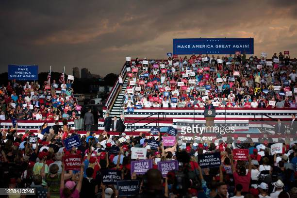 President Donald Trump addresses the crowd during a campaign rally at Smith Reynolds Airport on September 8, 2020 in Winston Salem, North Carolina....