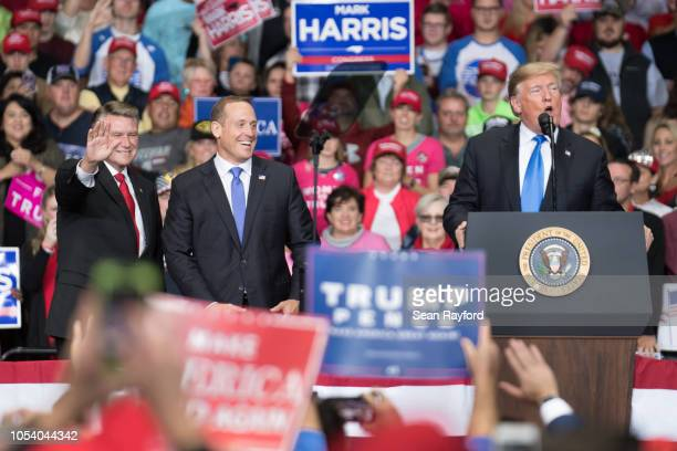 S President Donald Trump addresses the crowd during a campaign rally in support of congressional candidates Mark Harris and Ted Budd at the Bojangles...