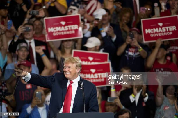 President Donald Trump addresses the crowd during a campaign rally for South Carolina Governor Henry McMaster at Airport High School June 25 2018 in...
