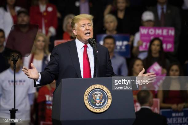 S President Donald Trump addresses the crowd during a rally in support of Sen Ted Cruz on October 22 2018 at the Toyota Center in Houston Texas Cruz...