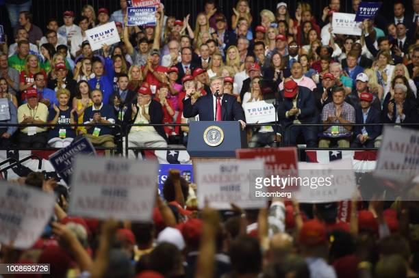 US President Donald Trump addresses the crowd during a rally in Tampa Florida US on Tuesday July 31 2018 Iranian Foreign Minister Javad Zarif pushed...
