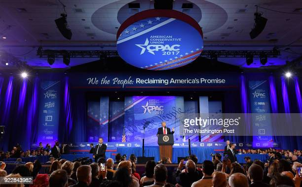 President Donald Trump addresses the crowd during CPAC at the Gaylord National Resort Convention Center on February 24 2017 in Oxon Hill Md