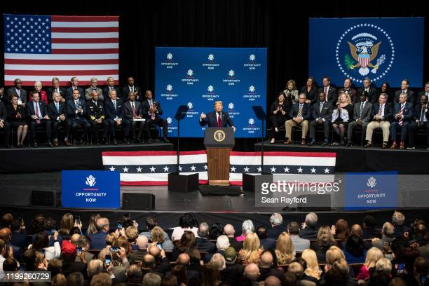 S President Donald Trump addresses the crowd during the Opportunity Now summit at Central Piedmont Community College on February 7 2020 in Charlotte...