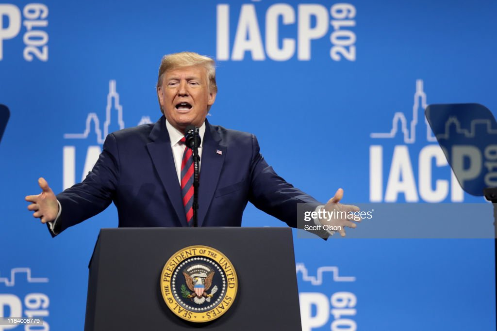President Trump Addresses The International Association Of Chiefs Of Police : News Photo